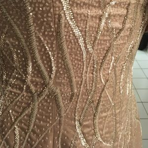 Gala by Mon Cheri Dresses - Champagne beaded floor length ball gown